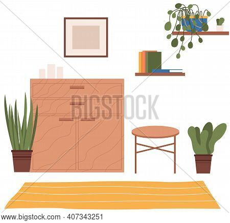 Vector Background Of Living Room With Commode, Coffee Table, Plants, Bookshelf On The Wall. Indoor F