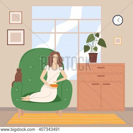 Girl Watching Tv With Popcorn On The Sofa In Living Room Flat Cartoon Vector Illustration. Female Ch