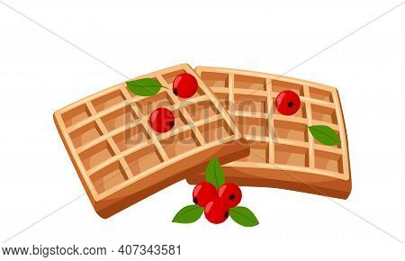 Viennese Waffle With Berries. Sweet Pastries. Fat, High-calorie, Unhealthy Food. Dessert, Yummy, Del