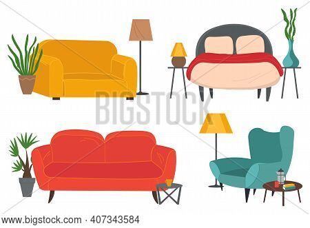 Armchairs And Sofas Set. Living Room Furniture Design Concept Modern Home Interior Element Flat Vect