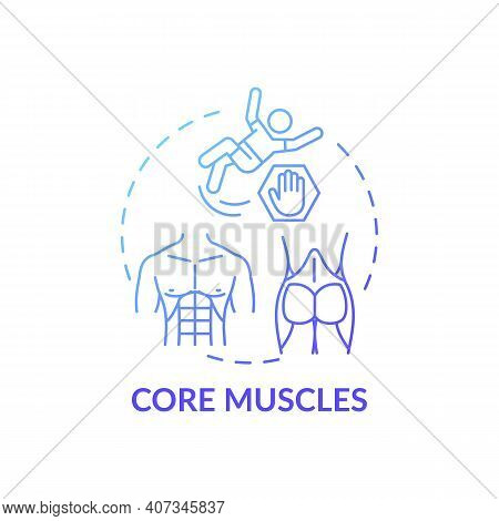 Core Muscles Concept Icon. Physical Training Type Idea Thin Line Illustration. Good Posture. Bad Bal
