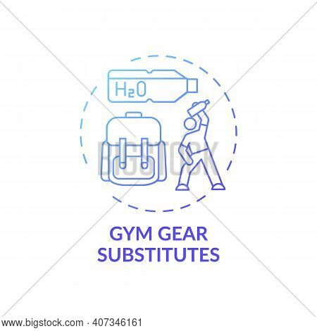 Gym Gear Substitutes Concept Icon. Home Physical Training Idea Thin Line Illustration. Using Proper