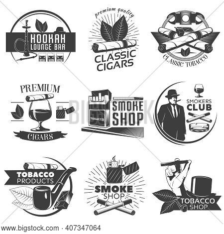 Smoking Tobacco Label Set With Descriptions Of Hookah Lounge Bar Classic Cigars Classic Tobacco Smok