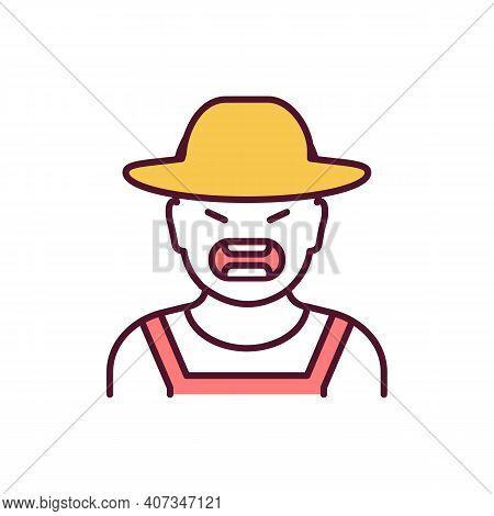 Farm Cruelty Rgb Color Icon. Angry Farmer. Person In Hat Yelling. Human Shouting. Agressive Man On R