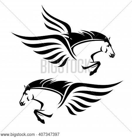 Pegasus Winged Horse Head And Front Legs - Greek Mythology Inspiration Symbol Animal Flying Forward