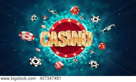 Gambling Casino Online Leisure Games Vector Illustration. Win In Gamble Game. Chips And Dice Explodi