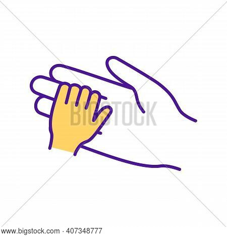 Baby And Mother Hold Hands Rgb Color Icon. Parenting And Childcare. Maternity, Mother With Infant. N