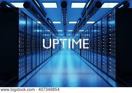 Uptime Logo In Large Modern Data Center With Rows Of Network Internet Server Racks, 3d Illustration