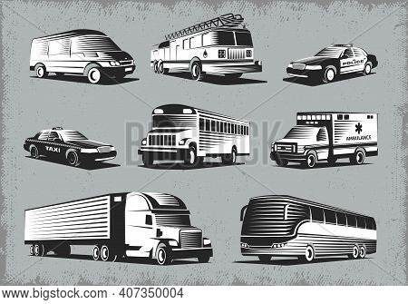 Modern Public And Emergency Transport Retro Style Images Set With Different Vehicle Types On Grunge