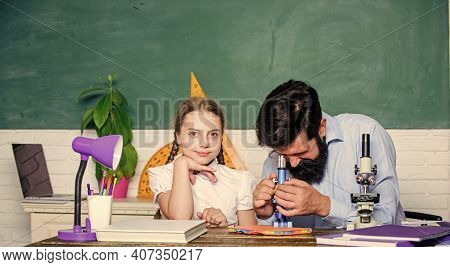 Girl Pupil Study With Bearded Teacher. Studying Methods For Children. School Education. Extra Classe