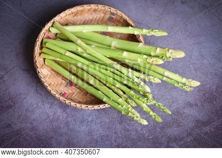 Asparagus Bunch For Cooked Food, Bundle Of Fresh Green Asparagus On Basket