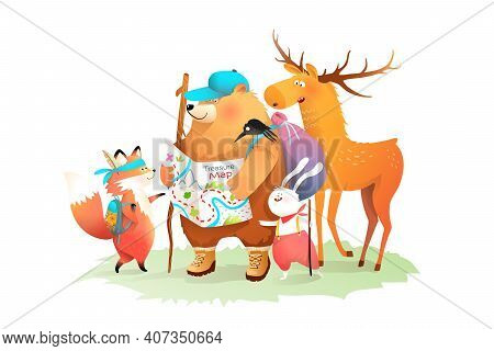 Forest Animals Camping, Hiking With Treasure Map. Bear Rabbit Fox And Moose Travelling Friends, Chil