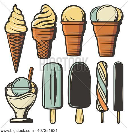 Vintage Colored Ice Creams Set In Waffle Cones On Sticks With Different Flavors Ingredients And Sund