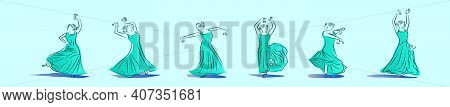 Set Of Castanet Dance Cartoon Icon Design Template With Various Models. Modern Vector Illustration I