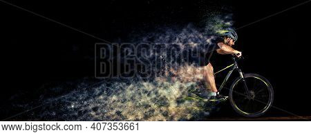 Man Racing Cyclist In Motion . Cyclist In Studio With Creative Effects. Scattering Effect. Creative