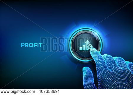 Profit Button. Business Growth. Finance Concept Of Profitability Or Return On Investment. Closeup Fi