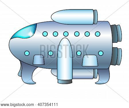 The Spaceship Is On The Surface. Spaceship - Vector Full Color Illustration. The Spacecraft Stands H