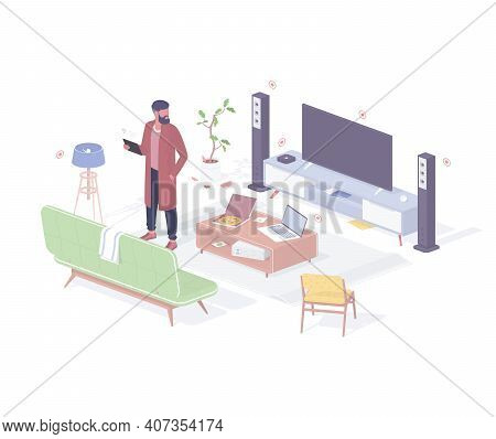 Man Resting After Work In Smart Home Realistic Isometry. Male Character In Robe And Tablet Testing H
