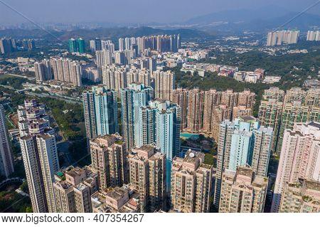 To Kwa Wan, Hong Kong 29 October 2020: Aerial view of Hong Kong city