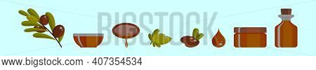 Set Of Argan Oil Cartoon Icon Design Template In Various Models. Modern Vector Illustration Isolated
