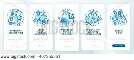 Emotional Burden Of New Worker Onboarding Mobile App Page Screen With Concepts. Fatigue Work Walkthr