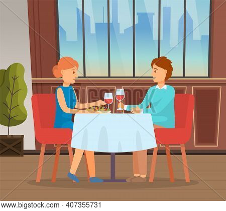 Young Couple Have Date In Restaurant. In Love Girl Guy Communicating, Drinking Wine, Celebrate Speci