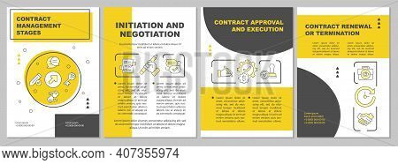 Contract Management Stages Brochure Template. Negotiation, Execution. Flyer, Booklet, Leaflet Print,