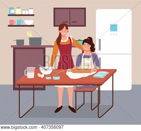 Mother And Daughter Cook Food. Family Working In The Kitchen. Cooking Together, Making Pie, Parent W