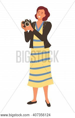 Smiling Woman Tourist Or Paparazzi Making Professional Shoots On Photo Camera. Vector Isolated Photo