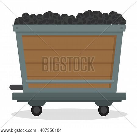 Coal Trolley, Mining Mineral Resource, Wooden Cart With Small Wheels Full Of Black Rocks, Wagon Tran