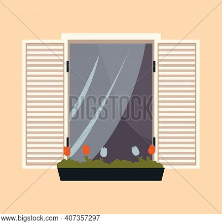 Window With Flowerpots. Large Window With Curtains And Open Shutters Vector Illustration. Window Ove