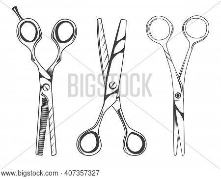 Set Of Scissors Symbol Isolated On White Background. Opened Hair Cutting Scissor. Barber Logo Icon.