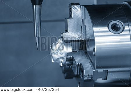 The 4-axis Simultaneous Machining Center Cutting The Turbine Parts With Solid Ball Endmill Tool. The