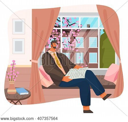 Man Sitting On Windowsill At Home, Relaxing Reading Newspaper Near Window With Cityscape, Nice Sprin