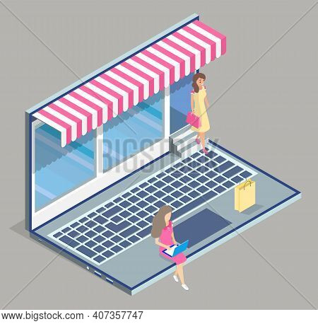 Online Shop, Isometric 3d Laptop. Customers Women Choosing Products At Website. Spending Money At Go