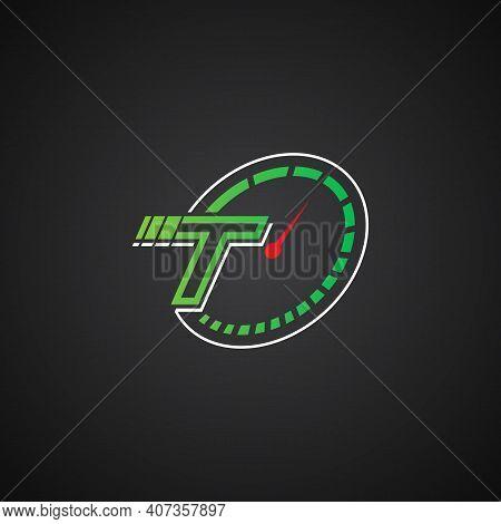 Initial Letter T Speedometer Acceleration Logo Vector. Logo Letter T With Icon Speedometer Illustrat