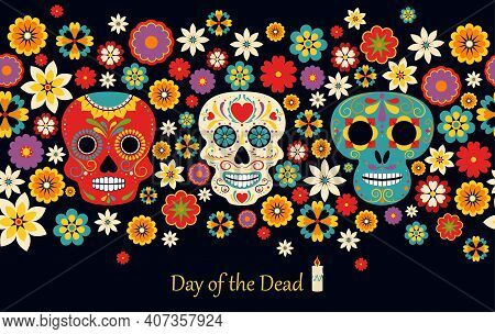 Vector Dia De Los Muertos, Day Of The Dead Or Mexico Halloween. The Main Symbols Of The Holiday On T