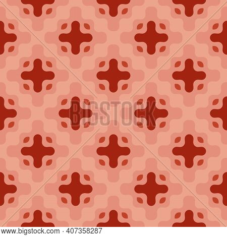 Vector Abstract Seamless Pattern With Curved Shapes. Stylish Geometric Background Texture In Trendy