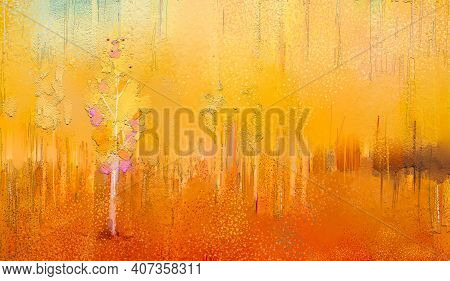 Abstract Colorful Oil Painting On Canvas Texture. Semi Abstract Paint Of Landscape, Tree, And Flower