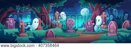 Cemetery With Ghosts At Night, Old Graveyard With Tombstones In Midnight Forest With Cracked Crosses