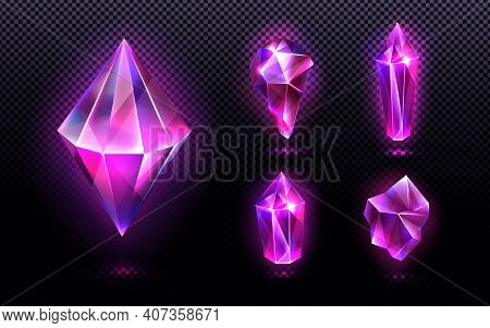 Magic Crystal Light, Gem Stones Of Purple Or Pink Colors, Faceted And Rough Glowing Rocks, Isolated
