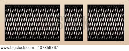 Laser Cut Pattern Set. Vector Design With Trendy Geometric Ornament, Halftone Grid, Gradient Effect.