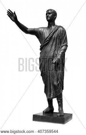 Statue of Roman statesman, lawyer, orator and philosopher. Isolated on white. Ancient antique roman sculpture