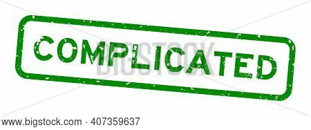 Grunge Green Complicated Word Square Rubber Seal Stamp On White Background