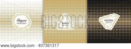 Halftone Dots Seamless Patterns. Vector Set Of Abstract Geometric Textures With Modern Minimal Label