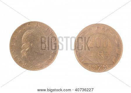 1979 Italian pre EEC 200 Lire coin isolated on white