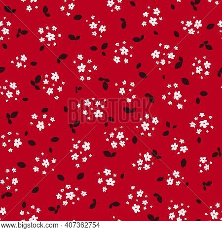 Liberty Pattern. Vector Seamless Texture With Small Pretty White Flowers And Black Leaves On Red Bac