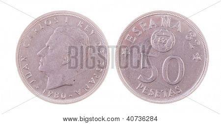 1980 Juan Carlos era Spanish 50 Pesetas coin isolated on white