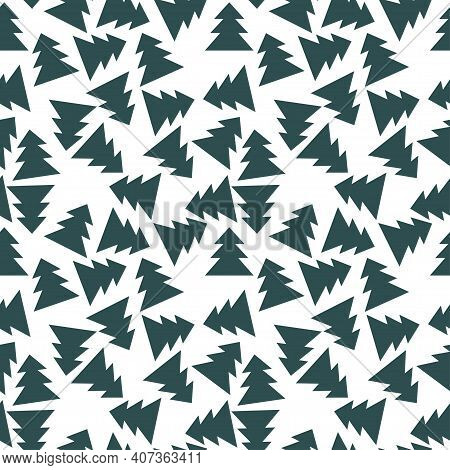 Tidewater Green Coniferous Forest On White Monochrome Seamless Pattern. Simple Chaotic Pine Trees En