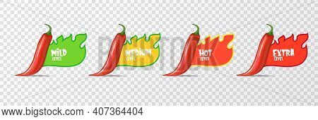 Hot Red Chili Pepper Icons Set With Flame And Rating Of . Vector Food Level Sticker Collection, Mild